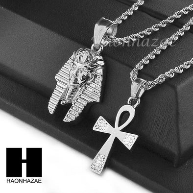 "STAINLESS STEEL KING-TUT & ANKH PENDANT 24"" 30"" ROPE CHAIN NECKLACE SET NP016 - Raonhazae"