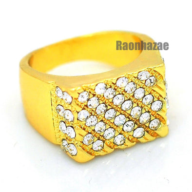 MENS HIP HOP RAPPER CHUNKY SOLID 14K GOLD PLATED RING SIZE 7 - 12 N008G - Raonhazae