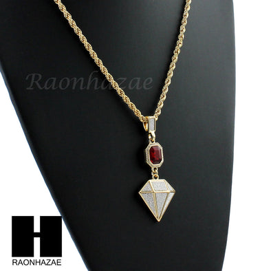 "LAB DIAMOND SHAPE 30"" CUBAN LINK CHAIN RED RUBY COMBO NECKLACE SET05 - Raonhazae"