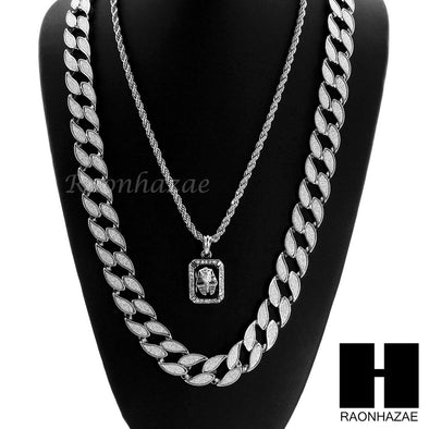 "MENS CUBAN LINK 30"" CHAIN / KING-TUT PENDANT 24"" ROPE NECKLACE SET SS37 - Raonhazae"