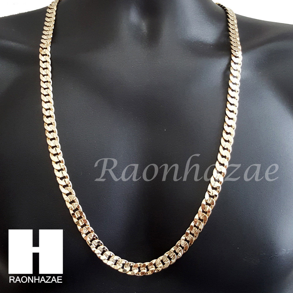 products men iced s barber cut chain link out charm shop cuban pole gold necklace mens