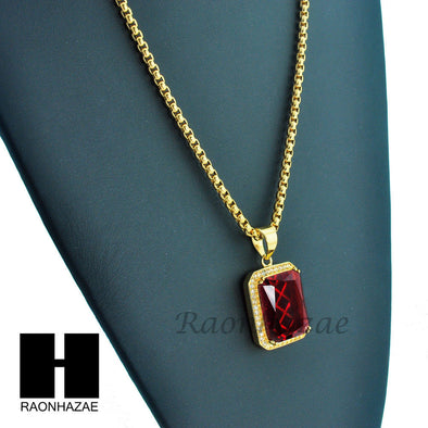 "MEN ICED OUT 316L STAINLESS STEEL RED RUBY PENDANT W 24"" BOX CHAIN NECKLACE S220 - Raonhazae"