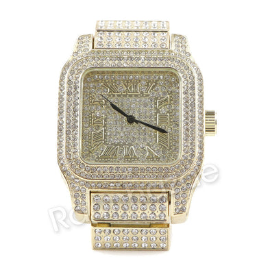 Men Iced Out Simulated Diamond Bling Gold Silver Plated Hip Hop Square Watch 21 - Raonhazae