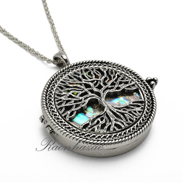 "Silver 5X Magnifying Glass Mother of Pearl Tree of Life Pendant 31"" Necklace 04s - Raonhazae"