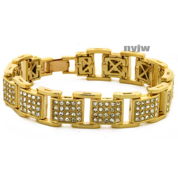 "NEW ICED HEAVY GOLD PLATED MICRO PAVE SIMULATED DIAMOND 8.5"" BRACELET KB033G - Raonhazae"