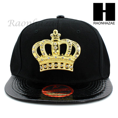 NEW URBAN HIP HOP RAPPER SHINY GOLD CROWN FLAT BILL SNAPBACK GOLD BLACK HAT CAP - Raonhazae