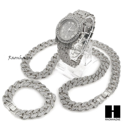 "Hip Hop diamond Techno Pave Watch 30"" Cuban Stone Chain Bracelet Set S - Raonhazae"
