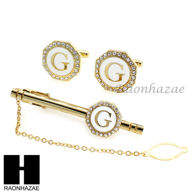 MENS 14K GOLD TONE INITIAL G AS IN GEORGE ICED OUT CUFFLINKS TIE PIN GIFT BOX02 - Raonhazae