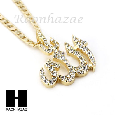 "ICED OUT RUBY ALLAH PENDANT 24"" 30"" CUBAN LINK ROPE CUBAN NECKLACE SET D021 - Raonhazae"