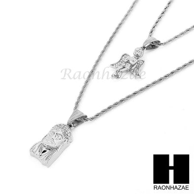 "STAINLESS STEEL JESUS FACE & ANGEL PENDANT 24"" 30"" ROPE CHAIN NECKLACE SET NP017 - Raonhazae"