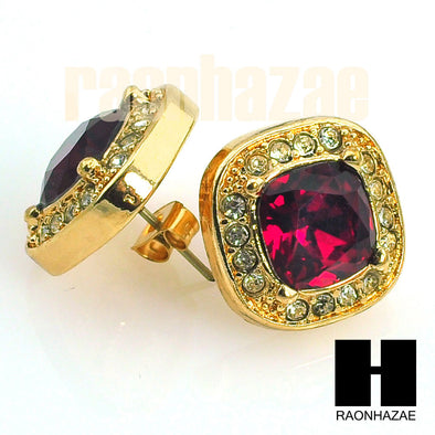 HipHop RICK ROSS Gold Tone Micro pave Red Ruby Big Bling Earrings G130 - Raonhazae
