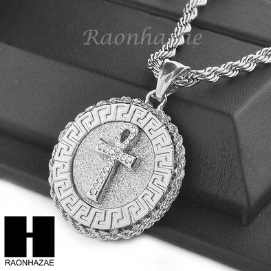 "MENS STAINLESS STEEL ANKH CROSS MEDALLION PENDANT 24"" ROPE CHAIN NECKLACE NP013 - Raonhazae"