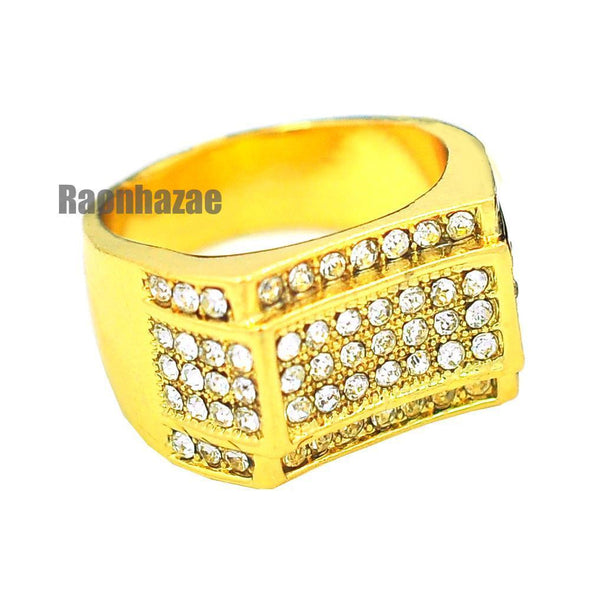 MENS HIP HOP RAPPER CHUNKY MICRO PAVE 14K GOLD PLATED RING SIZE 7 - 12 N011G - Raonhazae