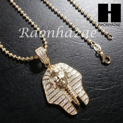 "Sterling Silver .925 AAA Lab Diamond King Tut w/2.5mm 20"" 24"" Moon Cut Chain 40G - Raonhazae"
