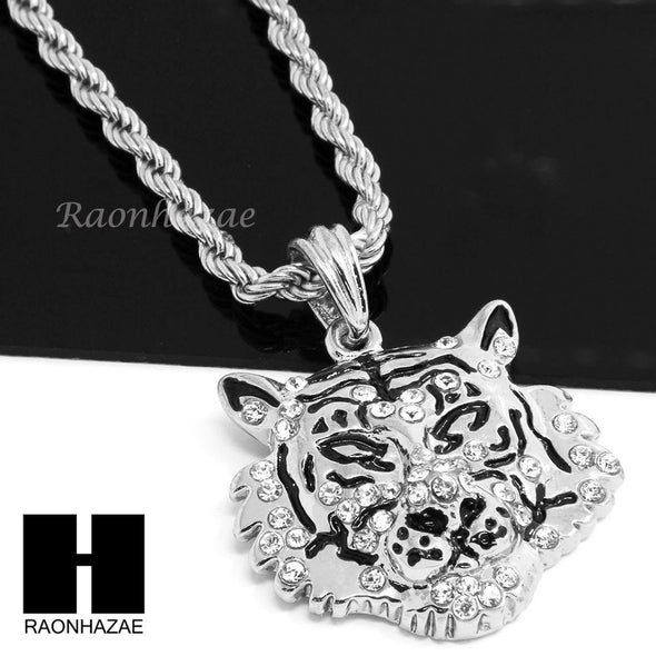 "MENS HIP HOP ICED OUT LION COUGAR FACE CZ PENDANT 24"" ROPE CHAIN NECKLACE N028 - Raonhazae"