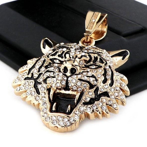 "Mens 14k Plated DRAKE TIGER Pendant w/ 30"" Iced Out Cuban Link Chain NN032G - Raonhazae"