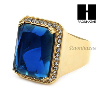 MEN ICED OUT RING 316L STAINLESS STEEL GOLD SAPPHIRE CZ RING SIZE 8-12 SR015BL - Raonhazae