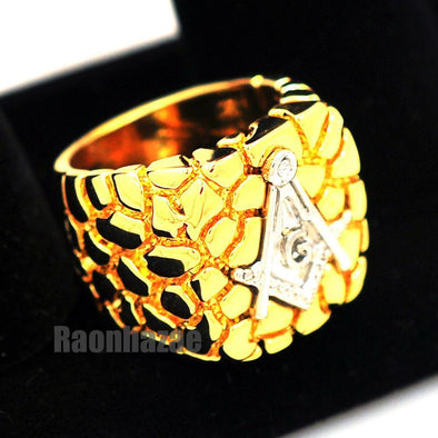 NEW MENS FREEMASON MASONIC SILVER/GOLD PLATED NUGGET RING SIZE 8 - 13 N012T - Raonhazae