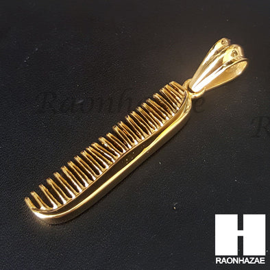 Mens 316L Stainless steel Gold Barber Shop Comb Pendant SS015 - Raonhazae