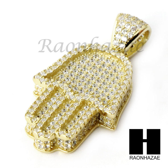 Iced Out Sterling Silver .925 AAA Lab Diamond Hamsa Hand 2.5mm Moon Cut Chain S4 - Raonhazae