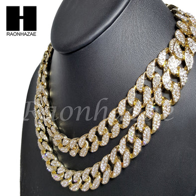 "Iced Out 14k Gold PT 15mm 8.5"" - 36"" Miami Cuban Choker Chain Necklace Bracelet - Raonhazae"
