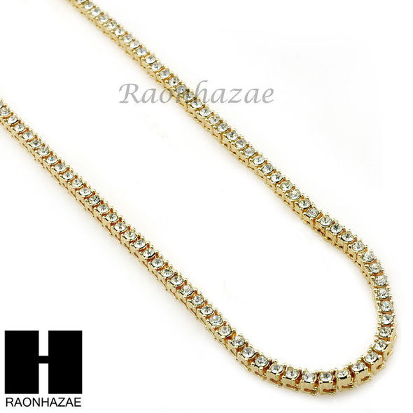 ICED OUT HIP HOP MIGOS RICK ROSS SIMULATED CLEAR DIAMOND TENNIS CHAIN NECKLACE - Raonhazae