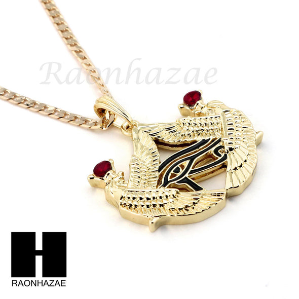 ICED OUT RUBY NEKHBET EYE OF HORUS PENDANT CUBAN LINK ROPE CUBAN NECKLACE SET 18 - Raonhazae