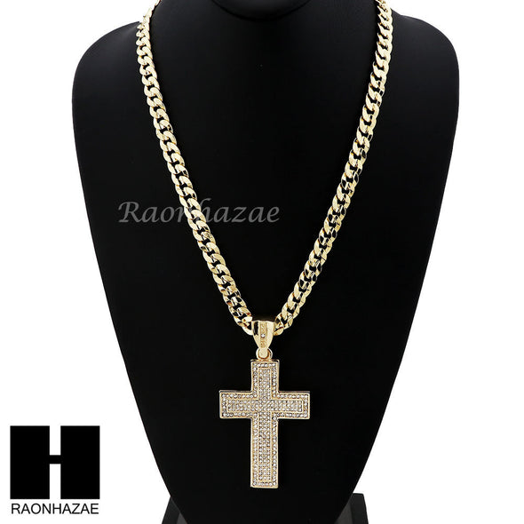 HIP HOP 2PAC CROSS PENDANT & DIAMOND CUT CUBAN LINK CHAIN NECKLACE N30 - Raonhazae