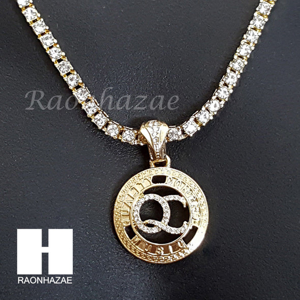 "BLING QC ROUND CHARM 16""-30"" TENNIS CHAIN 30"" CUBAN CHAIN NECKLACE G31 - Raonhazae"