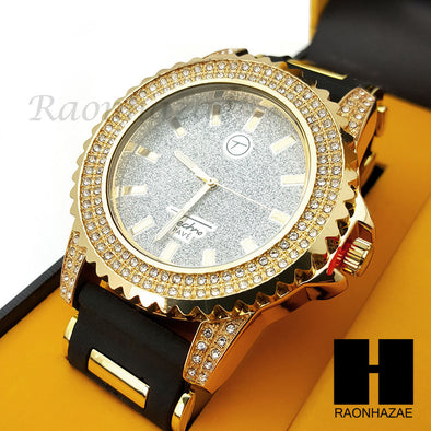 MEN ICED OUT TECHNO PAVE WATCH & CROSS PENDANT CUBAN CHAIN NECKLACE GIFT SET S72 - Raonhazae