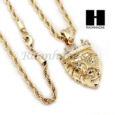"MEN KING LION ROPE CHAIN DIAMOND CUT 30"" CUBAN LINK CHAIN NECKLACE S011 - Raonhazae"