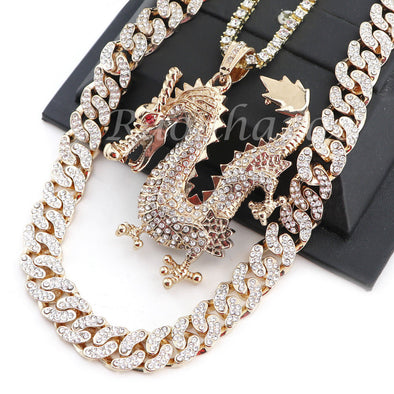 "MEN 14K GOLD PT DRAGON 18"" TENNIS CHAIN 16"" 30"" CHOKER CUBAN CHAIN S31G - Raonhazae"