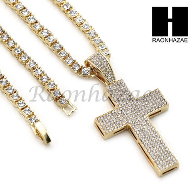 "14K GOLD PT Lil JESUS CROSS MIAMI CUBAN 16""~30"" CHOKER TENNIS CHAIN S19 - Raonhazae"