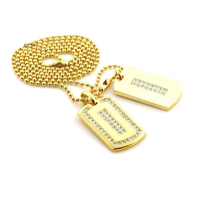 "ICED OUT RICK ROSS DOUBLE DOG TAG 18k GOLD FILLED W 30"" BALL CHAINS DTC006GS - Raonhazae"
