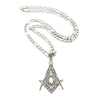 "NEW REAL WORLD FREEMASON MASONIC SYMBOL PENDANT 24"" FIGARO CHAIN JSP030T - Raonhazae"