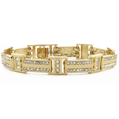 "ICED OUT 14K GOLD PLATED 2PAC MICRO PAVE CUBIC ZIRCONIA 8.5"" BRACELET KB011G - Raonhazae"