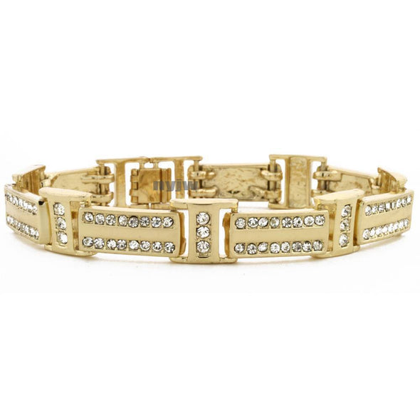 "14K GOLD PLATED 2PAC MICRO PAVE CUBIC ZIRCONIA 8.5"" BRACELET KB011G - Raonhazae"
