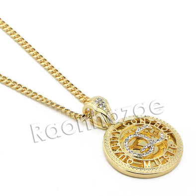 "Mens Brass Gold Yachty QC Charm Pendant w/ 5mm 24"" 30"" Cuban Chain A06G - Raonhazae"