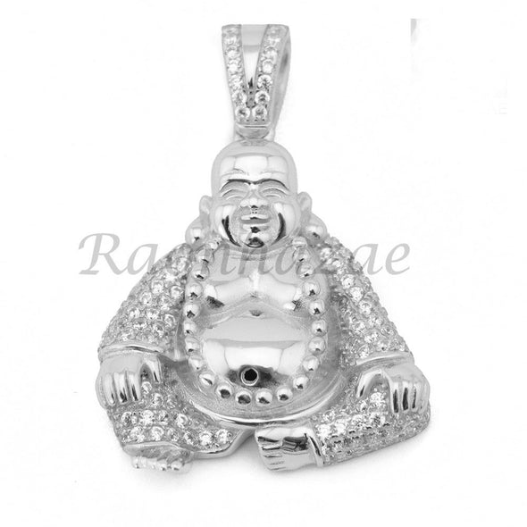 Sterling Silver .925 AAA Lab Diamond Smiling Buddha w/2.5mm Moon Cut Chain S052 - Raonhazae