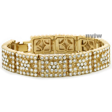 "NEW ICED HEAVY GOLD PLATED MICRO PAVE SIMULATED DIAMOND 8.5"" BRACELET KB032G - Raonhazae"