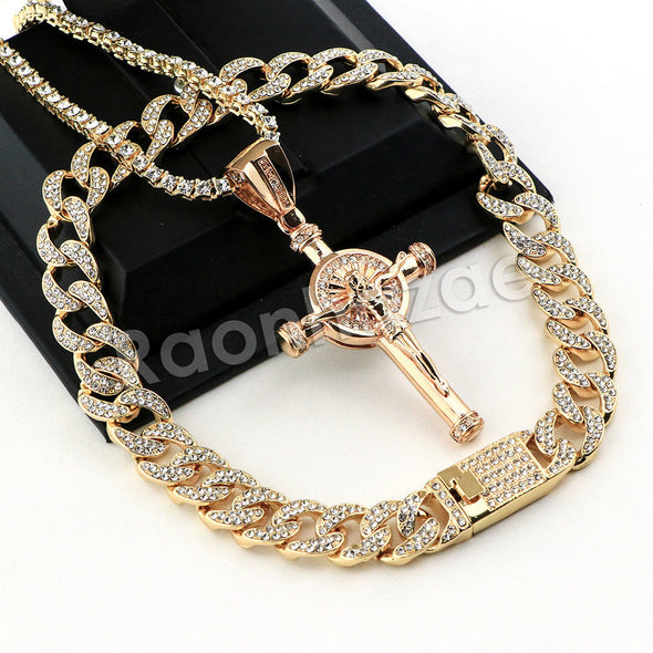 Hip Hop Quavo Cylinder Cross Miami Cuban Choker Chain Necklace L11 - Raonhazae