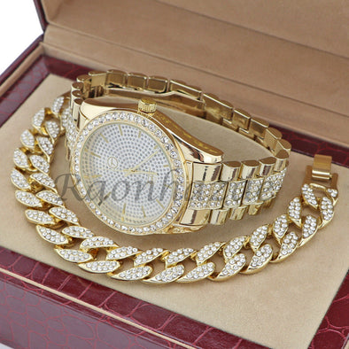 MEN 14K GOLD PT G-EAZY BLING LUXURY WATCH CUBAN BRACELET COMBO SET 15G - Raonhazae