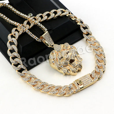 Hip Hop Quavo LION Miami Cuban Choker Chain Tennis Necklace L43 - Raonhazae