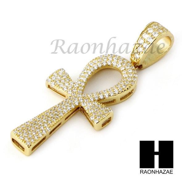 Iced Out Sterling Silver .925 AAA Lab Diamond ANKH Cross 2.5mm Moon Cut Chain S5 - Raonhazae