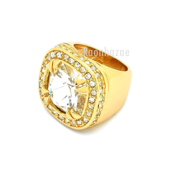 NEW MEN BIG CHUNKY GOLD PLATED RICH GANG CLEAR CRYSTAL CLEAR RING R030G - Raonhazae