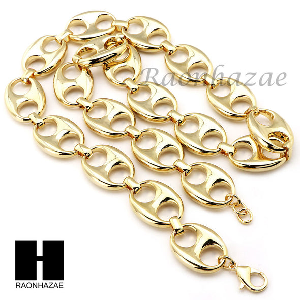 "14K Gold Plated 5 to 25mm wide 9"" 24"" 30"" 36"" Puffed Mariner Gucci Link Chain - Raonhazae"