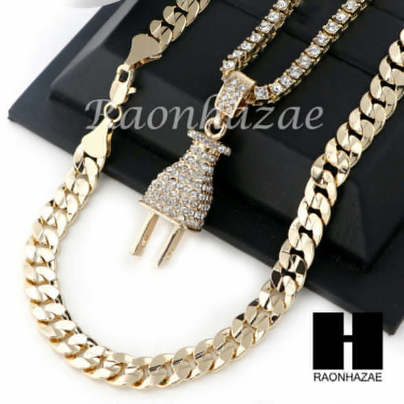 "MEN ELECTRONIC PLUG TENNIS CHAIN DIAMOND CUT 30"" CUBAN LINK CHAIN S50 - Raonhazae"