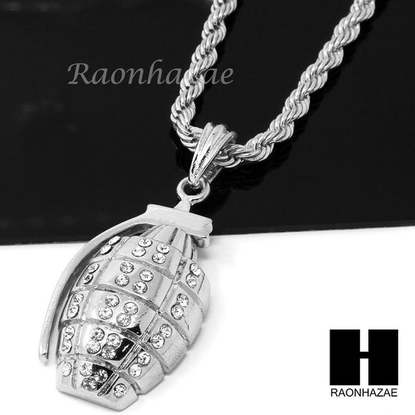 "MENS HIP HOP HAND GRENADE CZ PENDANT 24"" ROPE CHAIN NECKLACE N027 - Raonhazae"