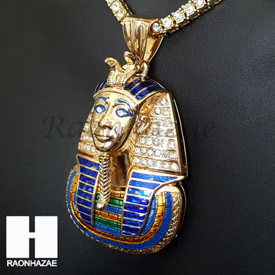 New Hip Hop King Tut Pharaoh Miami Cuban Choker Tennis Chain Necklace F - Raonhazae