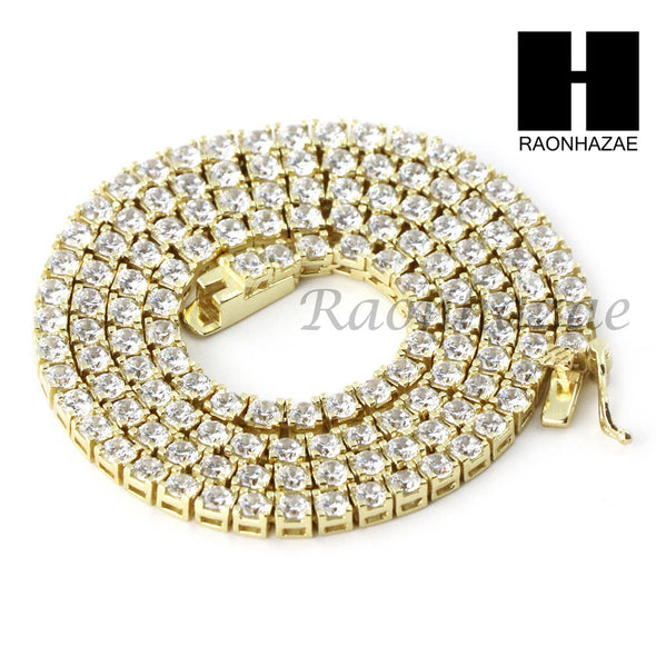 ".925 STERLING SILVER TENNIS CHAIN DIAMOND CUT 24"" 30"" LINK CHOKER NECKLACE L02 - Raonhazae"